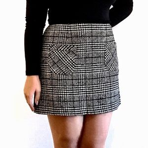 Nanette Lepore Houndstooth Plaid Tartan Mini Skirt